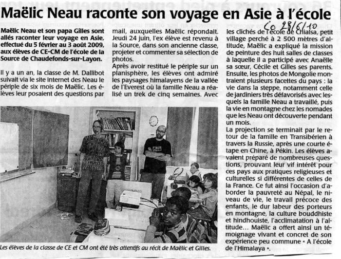 Courrier  l'Ouest 28/06/10, Andes - LIENS  invisible