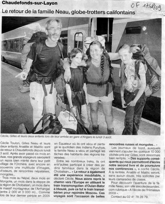 Ouest France 17/08/09, Andes - LIENS  invisible